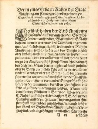 Schon die erste Seite zeigt, dass für die Zeitgenossen bei der Kalenderreform konfessionelle und politische Ansprüche impliziert waren.