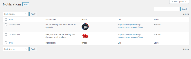 Push Notifications List from Progressive Web App (PWA) menu
