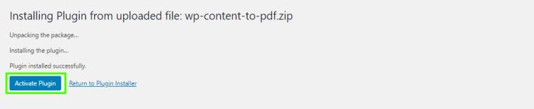 Activate WordPress Content to PDF plugin