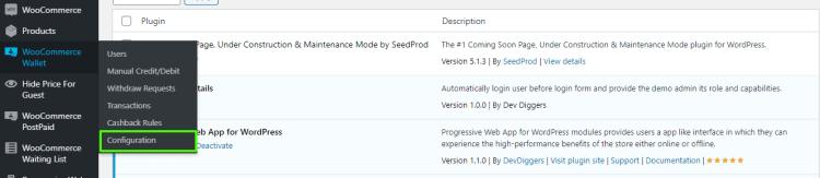 WooCommerce Wallet menu hover for configuration