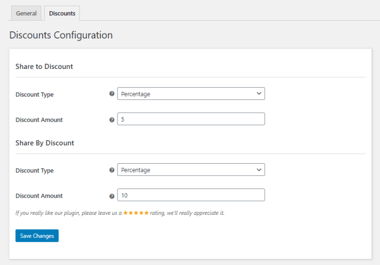 WooCommerce Product Share For Discounts discounts configuration