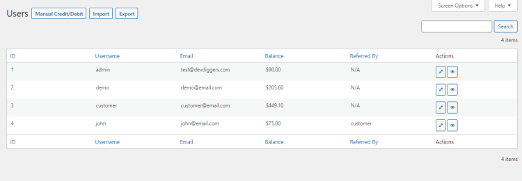 WooCommerce Wallet Management - Users list