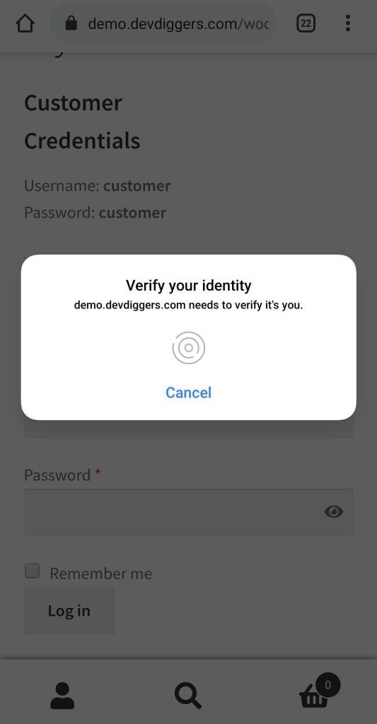 WooCommerce Biometric Login popup