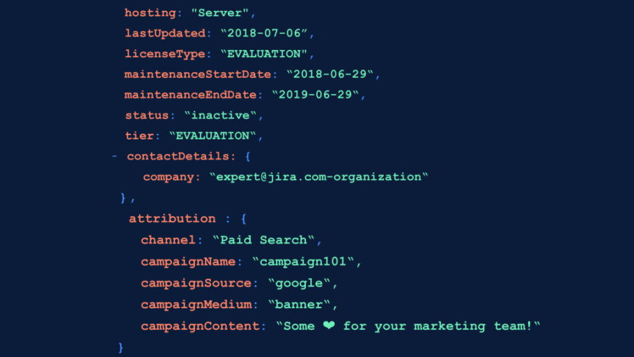 A slide showing how marketing attribution works in the Atlassian Marketplace API