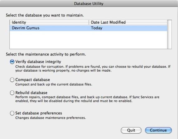 Entourage Database Utility Seçenekleri