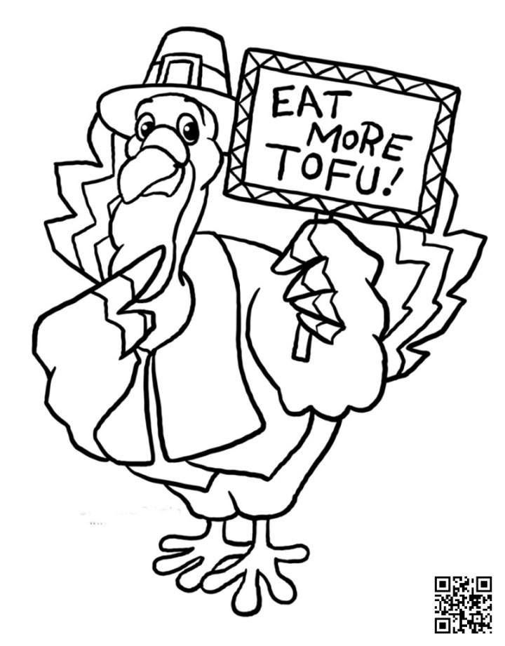 Eat More Tofu - Thanksgiving  Coloring Page