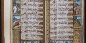 Beinecke MS 436, Vanderbilt Hours, ff. 3v-4r, Calendar, June and July