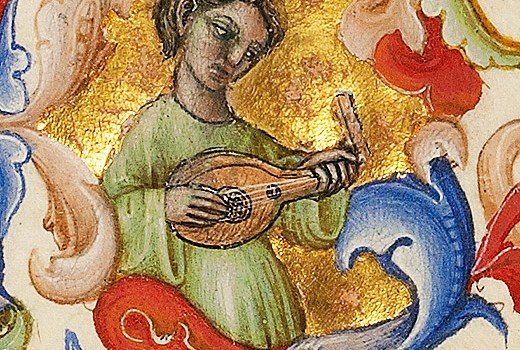 Marginal detail: unidentified person playing a lute