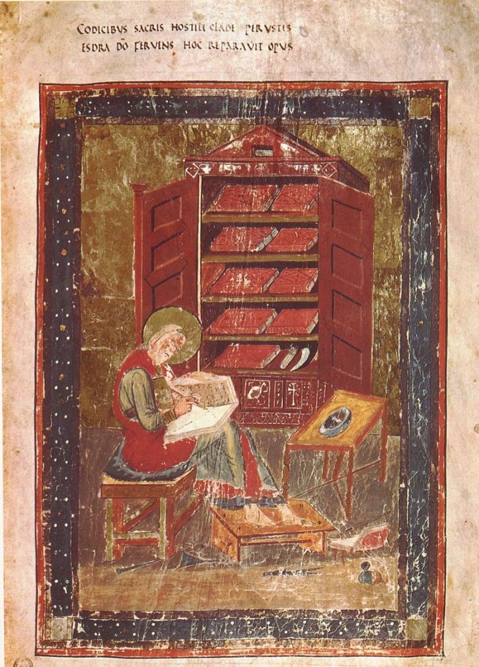Laurentian Library, Portrait of Ezra, Amiat. 1, 5r - Biblia Sacra - Biblioteca Medicea Laurenziana, Florence.