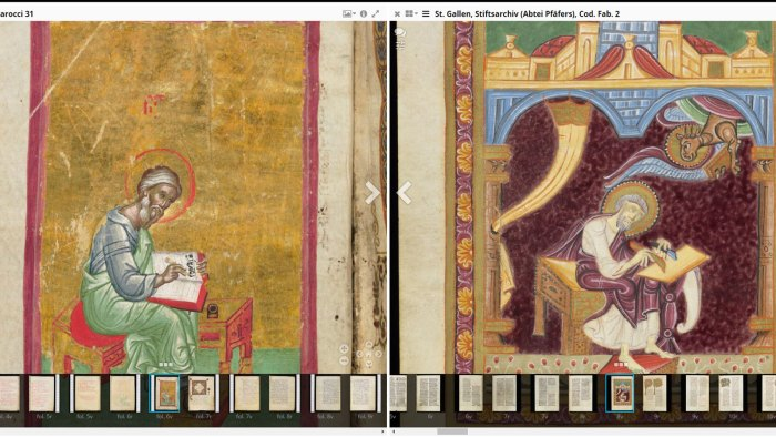 Comparing two images of the evangelists, one from the Bodleian, the other from St. Gallen
