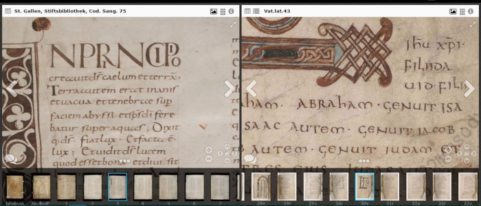 Comparing two 9th century Bibles, one from the Vatican, one from e-codices.