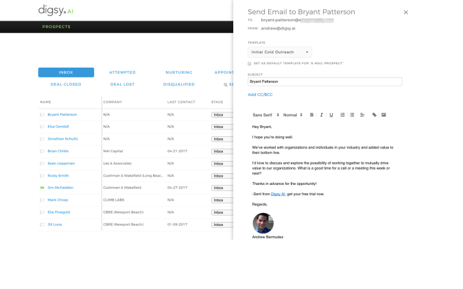 Digsy AI Introduces Native Email Sync, Contact Importing & Custom Email Templates