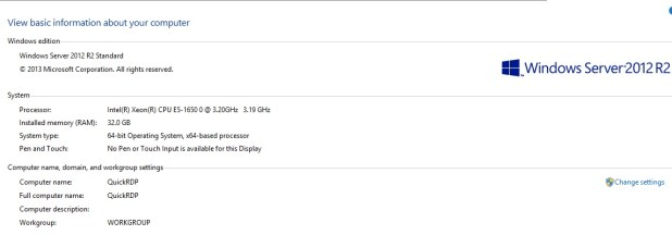 RDP Windows Server 2012
