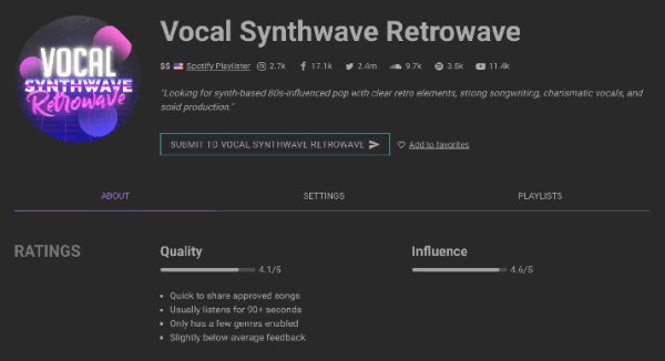 promoting a Spotify playlist - 9 Vocal Synthwave