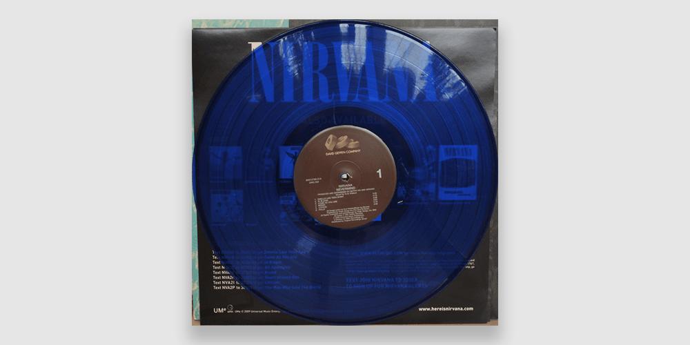 Nirvana Nevermind pressed on a blue-translucenct vinyl record