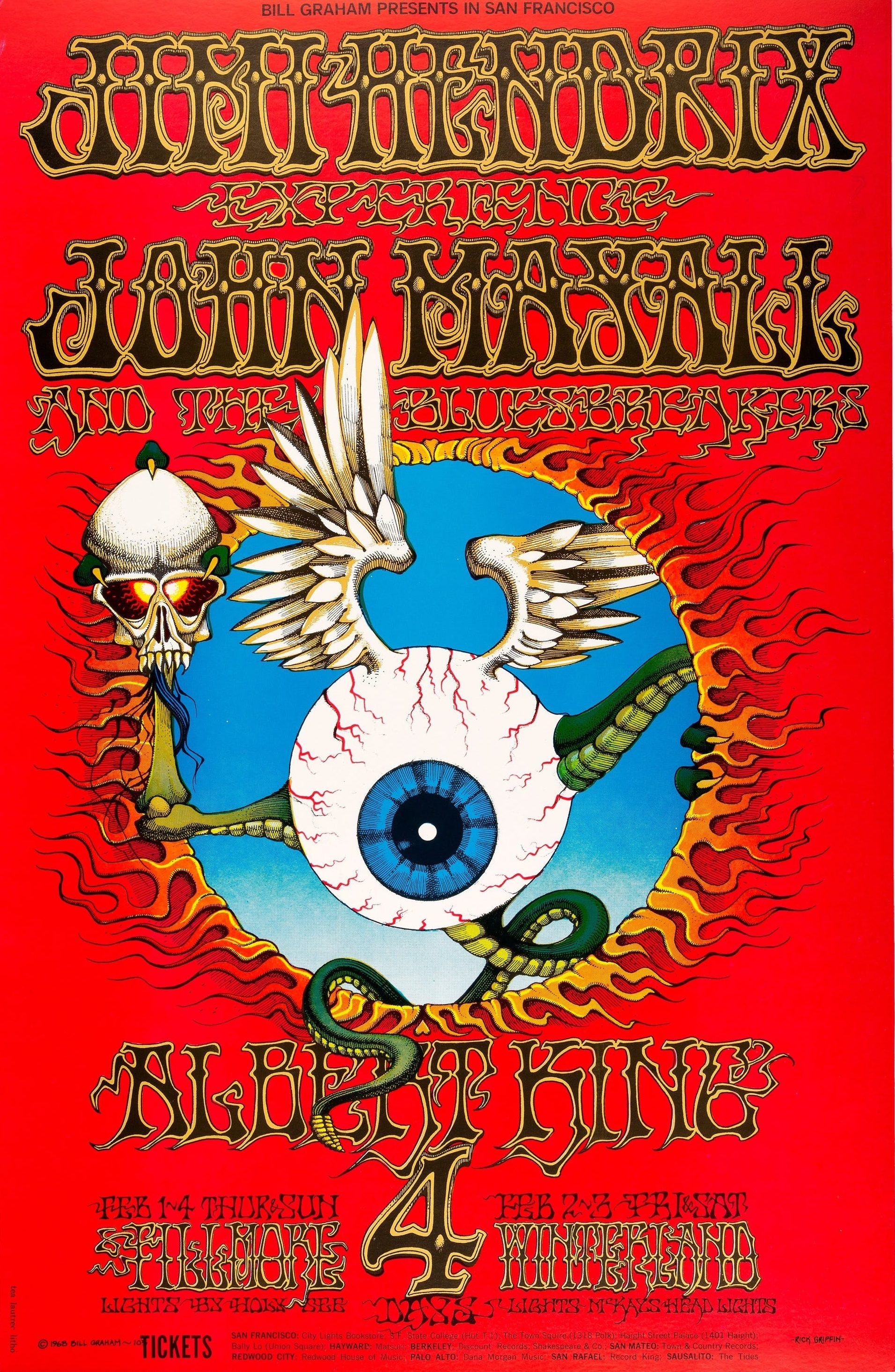Jimi Hendrix Experience Eyeball poster by Rick Griffin