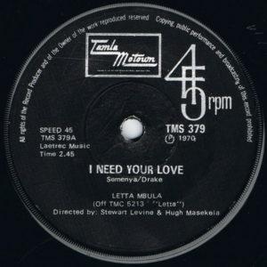 Letta Mbula – I Need Your Love / Mahlalela - (Lazy Bones)