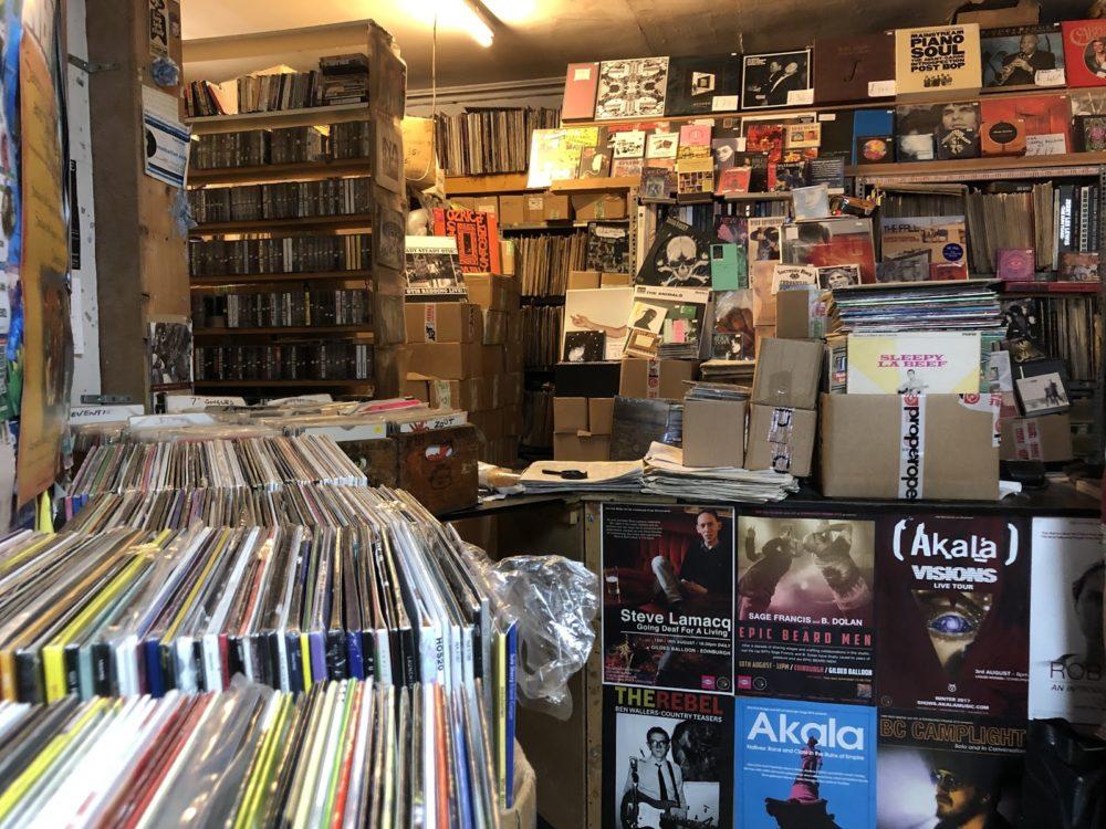 Inside the Record Shak in Endinburgh, Scotland