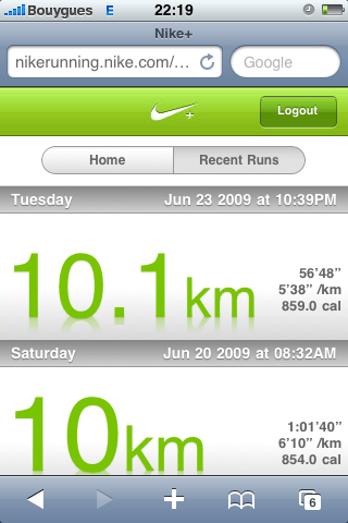 Nike Running Mobile - Recent Runs