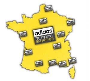 Implantations des sites d'accueil de la Communauté Adidas Running Partners