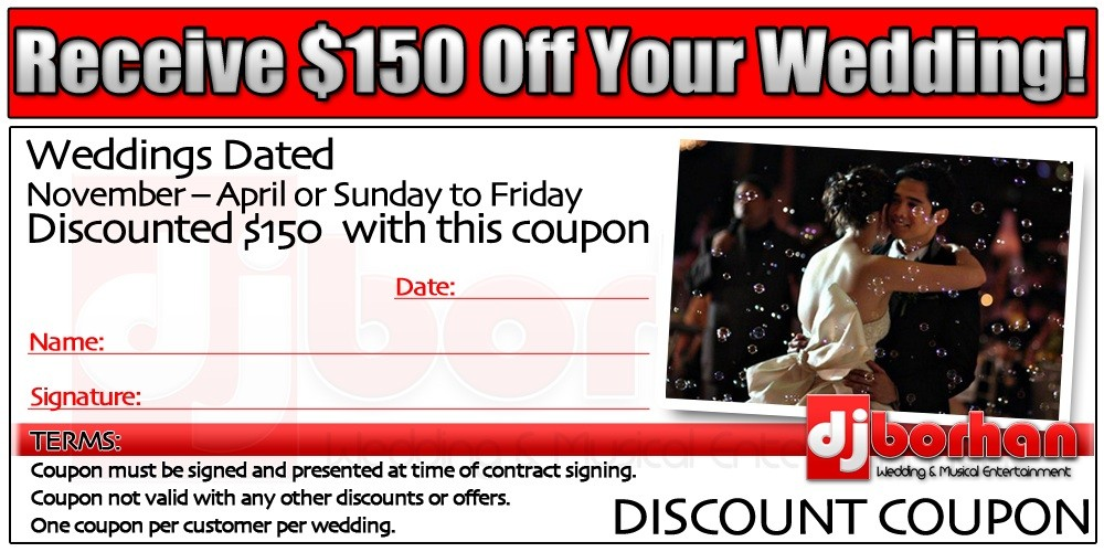 DJ Borhan wedding services coupon