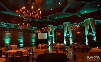 Green uplighting for wedding