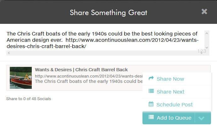 Možnosti sdílení pomocí doplňku dlvr.it prohlížeče pro Pinterest