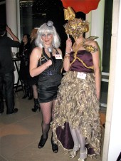 Left: Lady Gaga with microphone Right: Award-winning storyteller Ann Marie Newman as Lady Gaga
