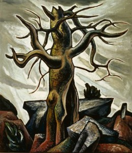 Everett Spruce, Tree and Rocks, 1932, oil on Masonite, Dallas Museum of Art, gift of Maggie Joe and Alexandre Hogue