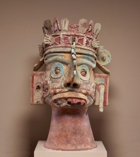 Head of the rain god Tlaloc, Mixtec culture, Late Postclassic period, c. 1300-1500, ceramic, tufa, stucco, and paint, Dallas Museum of Art, gift of Mr. and Mrs. Stanley Marcus in memory of Mary Freiberg