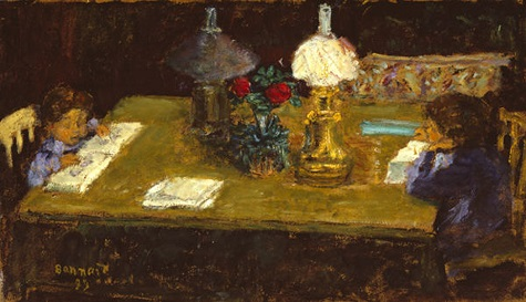 Pierre Bonnard, Interior: The Terrasse Children, 1899, oil on paper board panel, Dallas Museum of Art, The Wendy and Emery Reves Collection