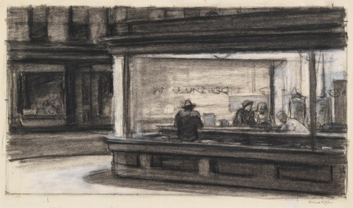 Edward Hopper, Study for Nighthawks, 1942, Whitney Museum of American Art, copyright Heirs of Josephine N. Hopper, licensed by the Whitney Museum of American Art. Digital Image, copyright Whitney Museum of American Art, NY