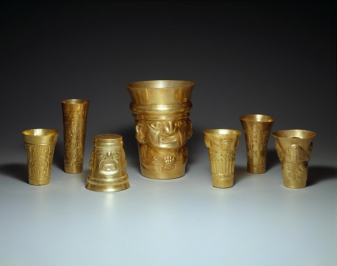 Group of beakers, AD 900-1100, Peru, North Coast, La Leche Valley, Batan Grande Region, Sican culture, Gold, Dallas Museum of Art, The Nora and John Wise Collection, gift of Mr. and Mrs. Jake L. Hamon, the Eugene McDermott Family, Mr. and Mrs. Algur H. Meadows and the Meadows Foundation, Incorporated, and Mr. and Mrs. John D. Murchison