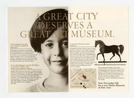 """Brochure with slogan """"A great city deserves a great art museum"""" encouraging Dallas residents to vote """"yes"""" in the 1979 bond election providing funds to build the new Dallas Museum of Art."""