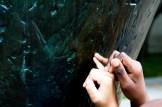 Feeling textures in a Barbara Hepworth sculpture.