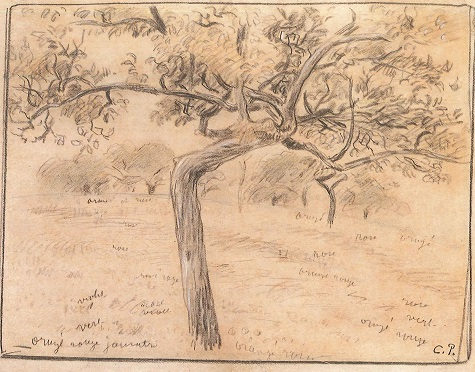 Camille Pissarro, Study for Apple Harvest, c. 1888, graphite and colored pencil on beige paper, 7 x 9 in. (17.8 x 22.7 cm), The Eunice and Hal David Collection