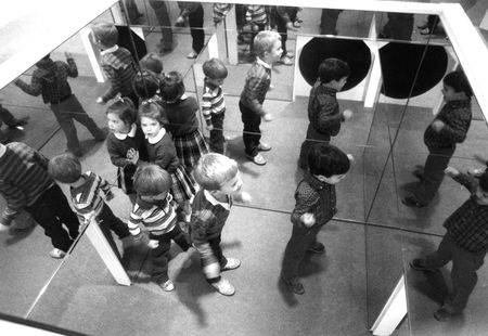 Children explore a mirrored Room of Infinity to understand perspective [Dallas Morning News]