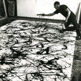 Photograph of Jackson Pollock painting.