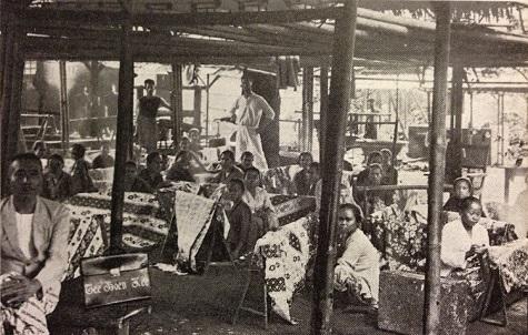 Peranakan Chinese batik entrepreneur Tee Boen Kee and his workshop in Batavia (Jakarta), around 1930. Heringa, R./ Veldhuisen, H.C: Fabric of Enchantment. Batik from the North Coast of Java. Los Angeles County Museum of Art. Los Angeles, 1996. pg. 41