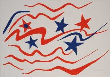 Alexander Calder, Flying Colors '76, 1976, color lithograph, Dallas Museum of Art, gift of Braniff International, the Color Guard Employees © Estate of Alexander Calder / Artists Rights Society (ARS), New York 1976.25