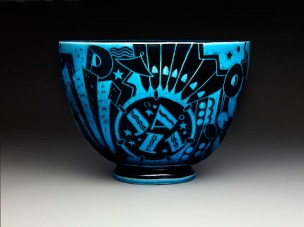 "Viktor Schreckengost, Cowan Pottery Studio, ""Jazz bowl"" or ""New Yorker"", c. 1930-1931, earthenware, Dallas Museum of Art, The Patsy Lacy Griffith Collection, gift of Patsy Lacy Griffith by exchange 2010.32"