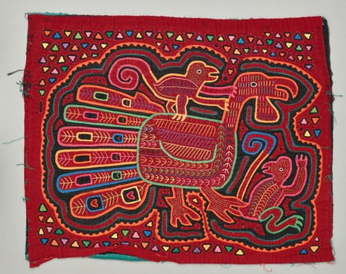 Untitled (mola: turkey with two monkeys), Latin America, 20th Century, cotton, applique, Dallas Museum of Art, gift of The Dozier Foundation, DS.1990.300