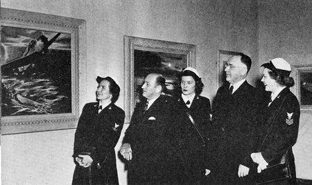 Mayor Woodall Rogers and Dr. Umphrey Lee, president of Southern Methodist University, view the Naval Aviation paintings with a group of Waves