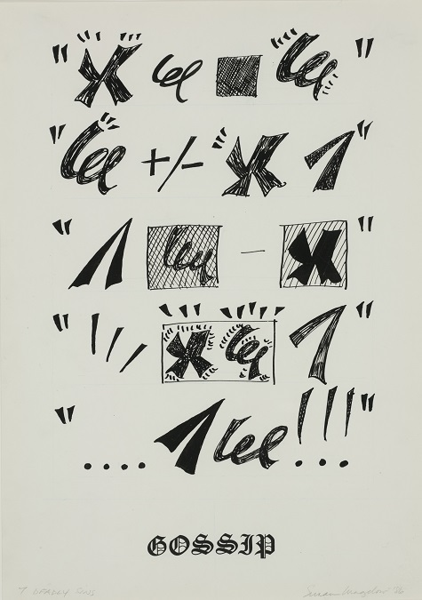Susan Magilow, Seven Deadly Sins: Gossip, 1986, ink on paper, Dallas Museum of Art, anonymous gift 1989.126.6