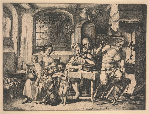 Christian Wilhelm Ernst Dietrich, The Satyr in the House of the Peasants, 1739, etching, Dallas Museum of Art, gift of Carnegie Inc. 1940.48