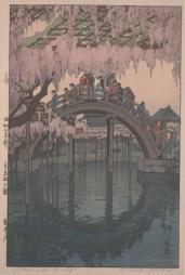 "Hiroshi Yoshida, ""Kameido Bridge,"" 1927, polychrome woodblock print, Dallas Museum of Art, the Abram C. Joseph and Ruth F. Ring Collection, gift of Miss Ruth F. Ring, 1985.79"