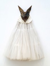 """David Hammons, """"Ivory Spirit,"""" 1990, metal, cotton, netting, silk, pearls, Dallas Museum of Art, gift of two anonymous donors, Ms. Judy Pollock, and the General Acquisitions Fund, 1994.50"""