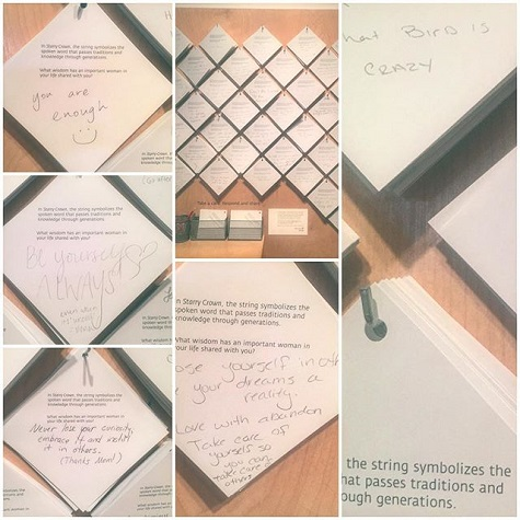 """lisavanahn Loved this interactive piece of art at DMA, it asked you to write a piece of advice a wise woman had given you and pass it down. and right there front and center """"you are enough"""" #bestadviceevergiven"""