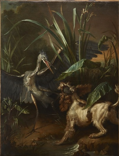 Jean–Baptiste Oudry, Water Spaniel Confronting a Heron, 1722, 29.2004.8, Lent by the Michael L. Rosenberg Foundation