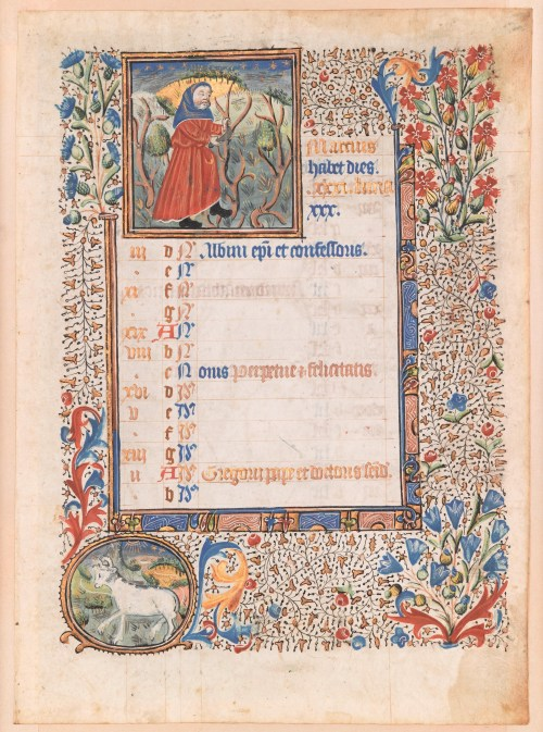 Calendar page from a Book of Hours: June France c. 1500 Tempera and ink on parchment Overall: 8 3/4 x 6 1/2 in. (22.2 x 16.5 cm) Musée de Cluny, musée national du Moyen Âge, Paris, Cl. 22715 g © RMN-Grand Palais/Art Resource, NY. Photograph: Jean-Gilles Berizzi